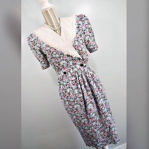 Vtg 80s Liz Juniors | Floral Half Wrap Dress